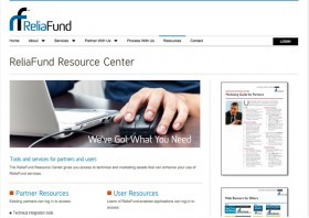ReliaFund screen shot showing partner marketing system